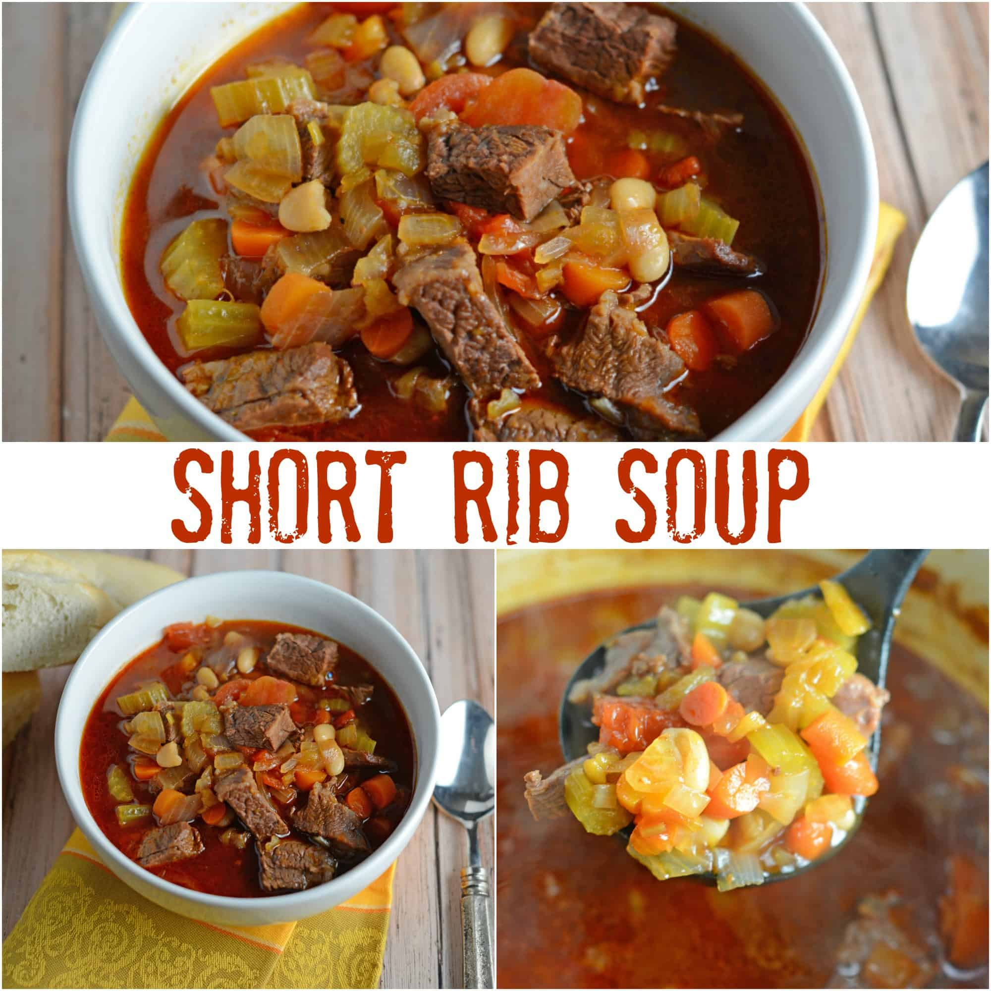 Short Rib Soup Recipe- a hearty comforting soup made with vegetables and shredded short ribs. Also known as Booyah in parts of the US. This soup can be served as an appetizer or entree and freezes well.