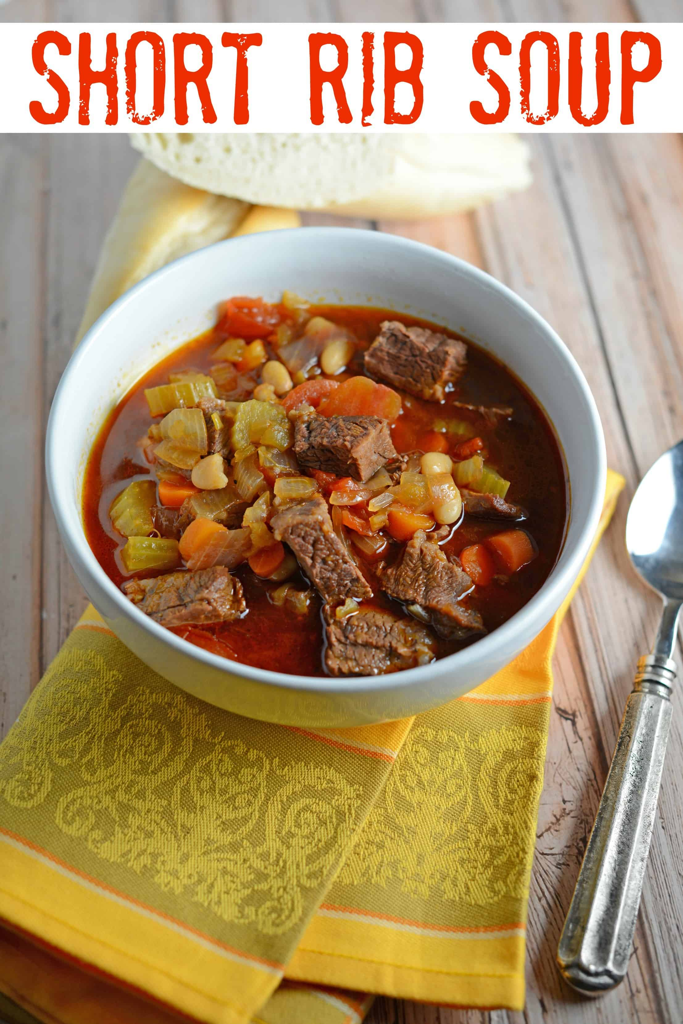 Short Rib Soup Recipe- a hearty comforting soup made with vegetables and shredded short ribs. Also known as Booyah in parts of the US. This soup can be served as an appetizer or entree and freezes well. www.savoryexperiments.com