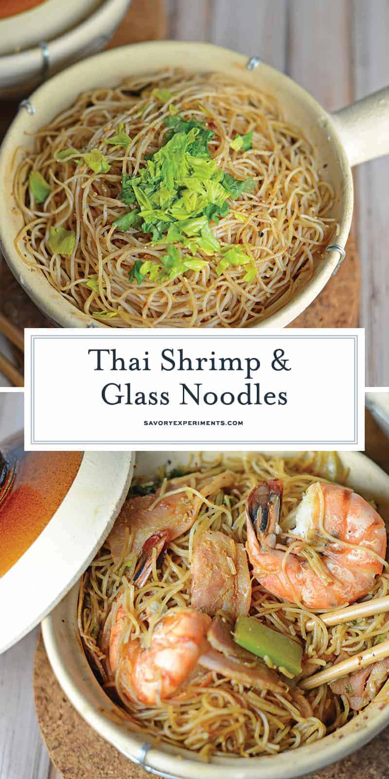Thai Shrimp with Glass Noodles is a one pot Thai dish with shrimp steamed in layers of bacon, aromatics and glass noodles. #glassnoodles #thaishrimp www.savoryexperiments.com