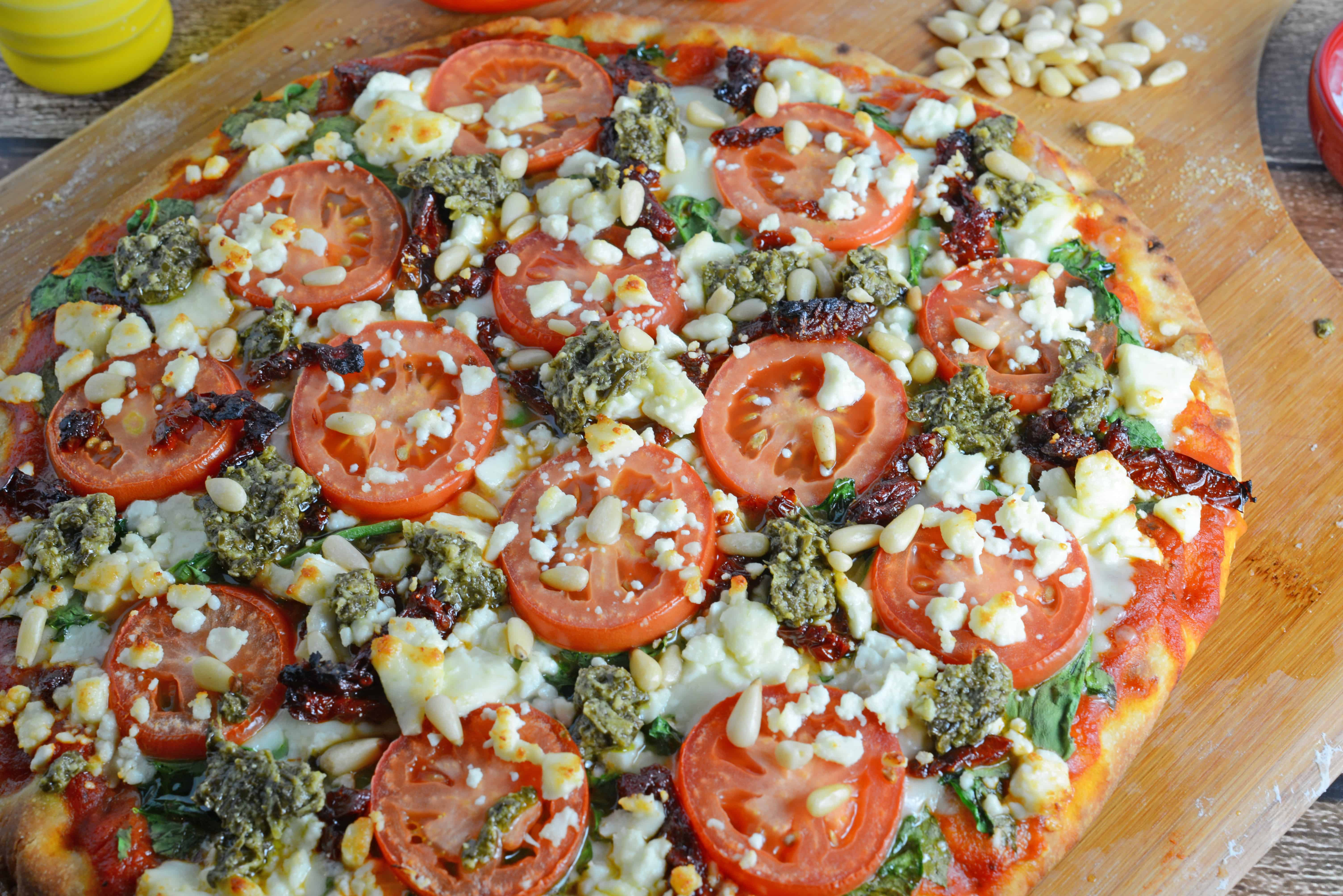 Tomato and Pesto Pizza Recipe - The BEST Homemade Pizza! This is ...