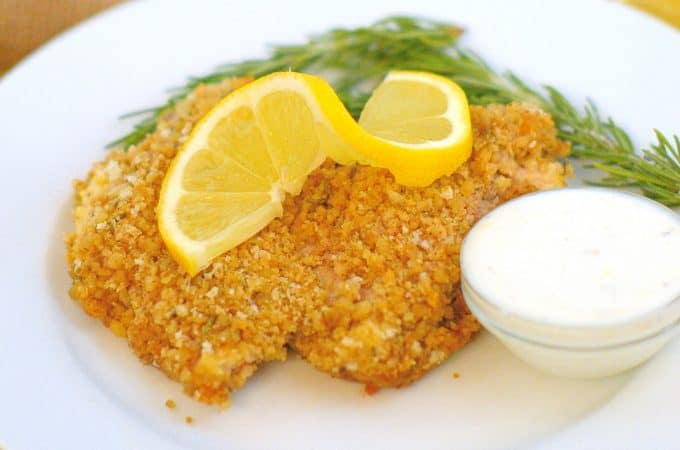 Walnut Crusted Chicken with Lemon Dipping Sauce