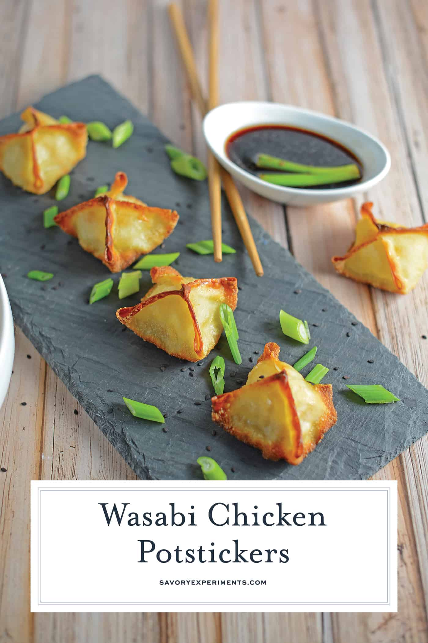 Wasabi Chicken Potstickers are homemade dumplings packed with ground chicken, nose flaring wasabi, ginger and seasonings. Dip in my famous potsticker sauce!#chickenpotstickers www.savoryexperiments.com