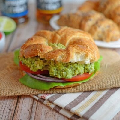 Avocado Chicken Salad Recipe - EASY and Healthy! Avocado pesto chicken salad is the perfect no-cook quick meal. No Mayo! www.savoryexperiments.com