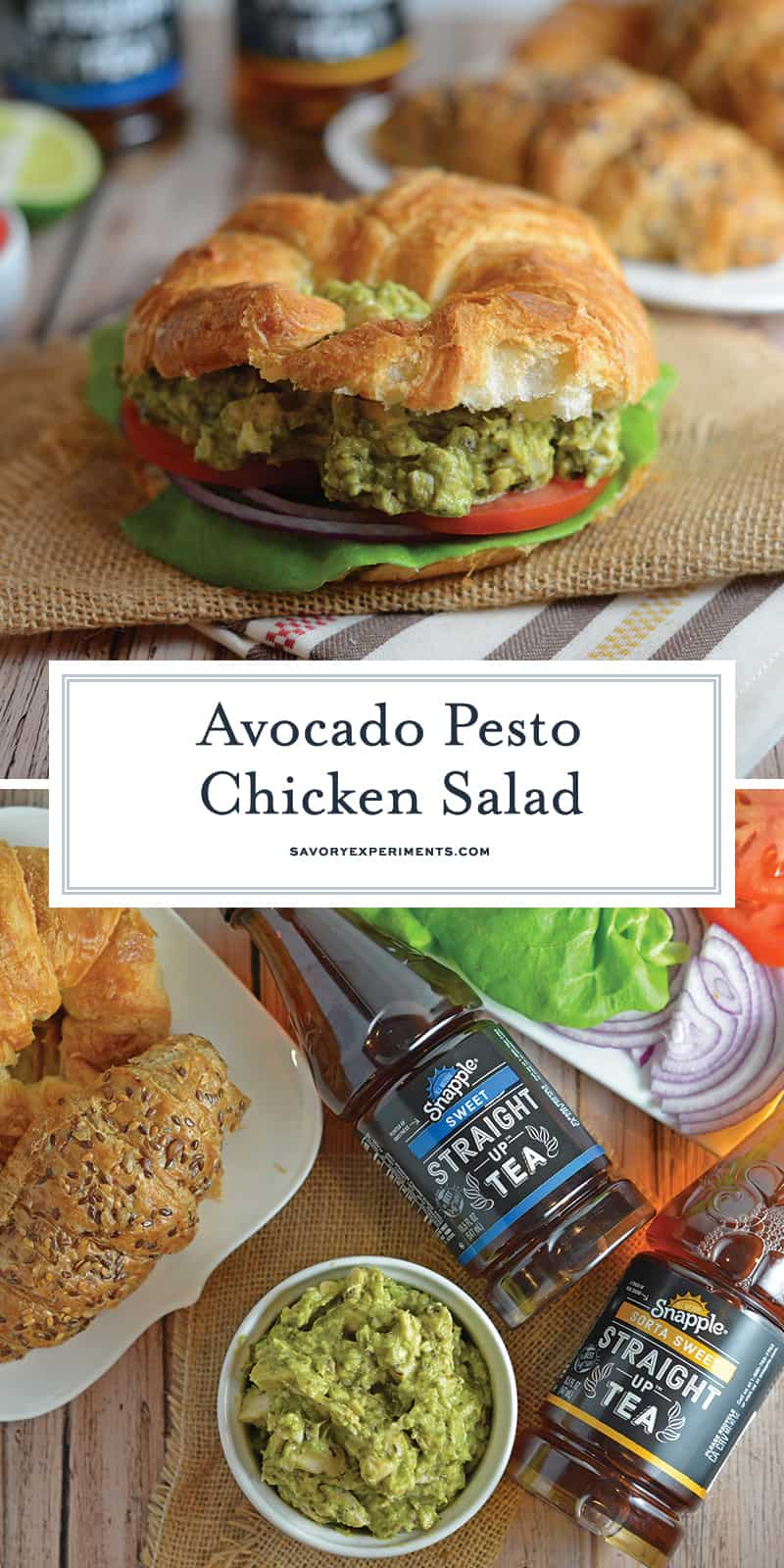 Pesto Avocado Chicken Salad swaps out the heavy mayonnaise for creamy avocado. Pesto adds flavor and lime juice brightens shredded chicken from precooked rotisserie chicken. #healthychickensalad #avocadochickensalad #easychickensalad www.savoryexperiments.com