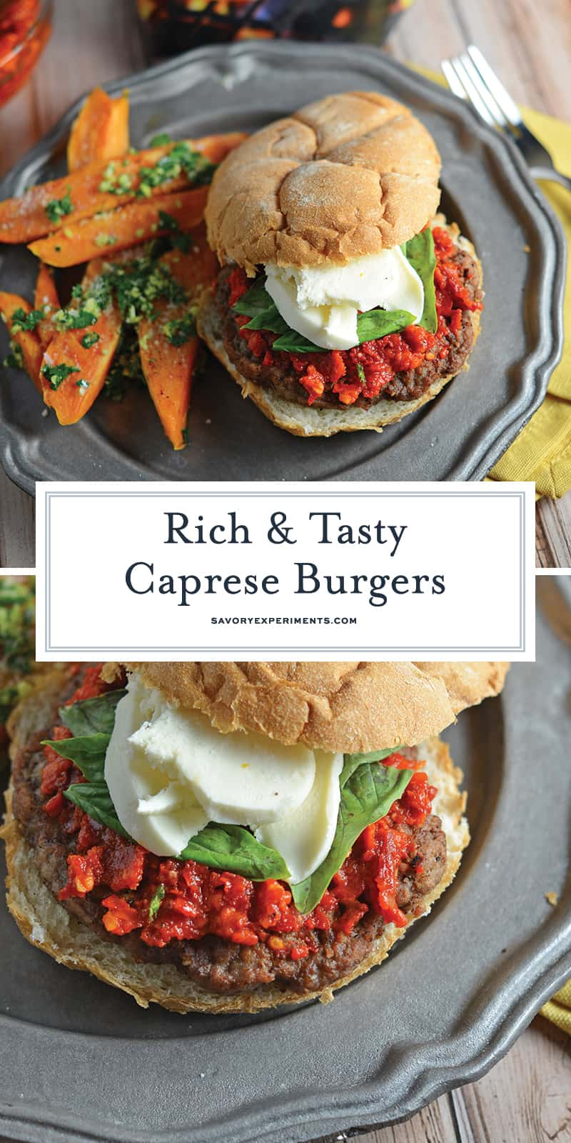 Caprese Burgers are smothered with a red pesto, fresh mozzarella and basil all on a flame-grilled burger. The best gourmet burger out there!#capreseburgers #gourmetburgers www.savoryexperiments.com