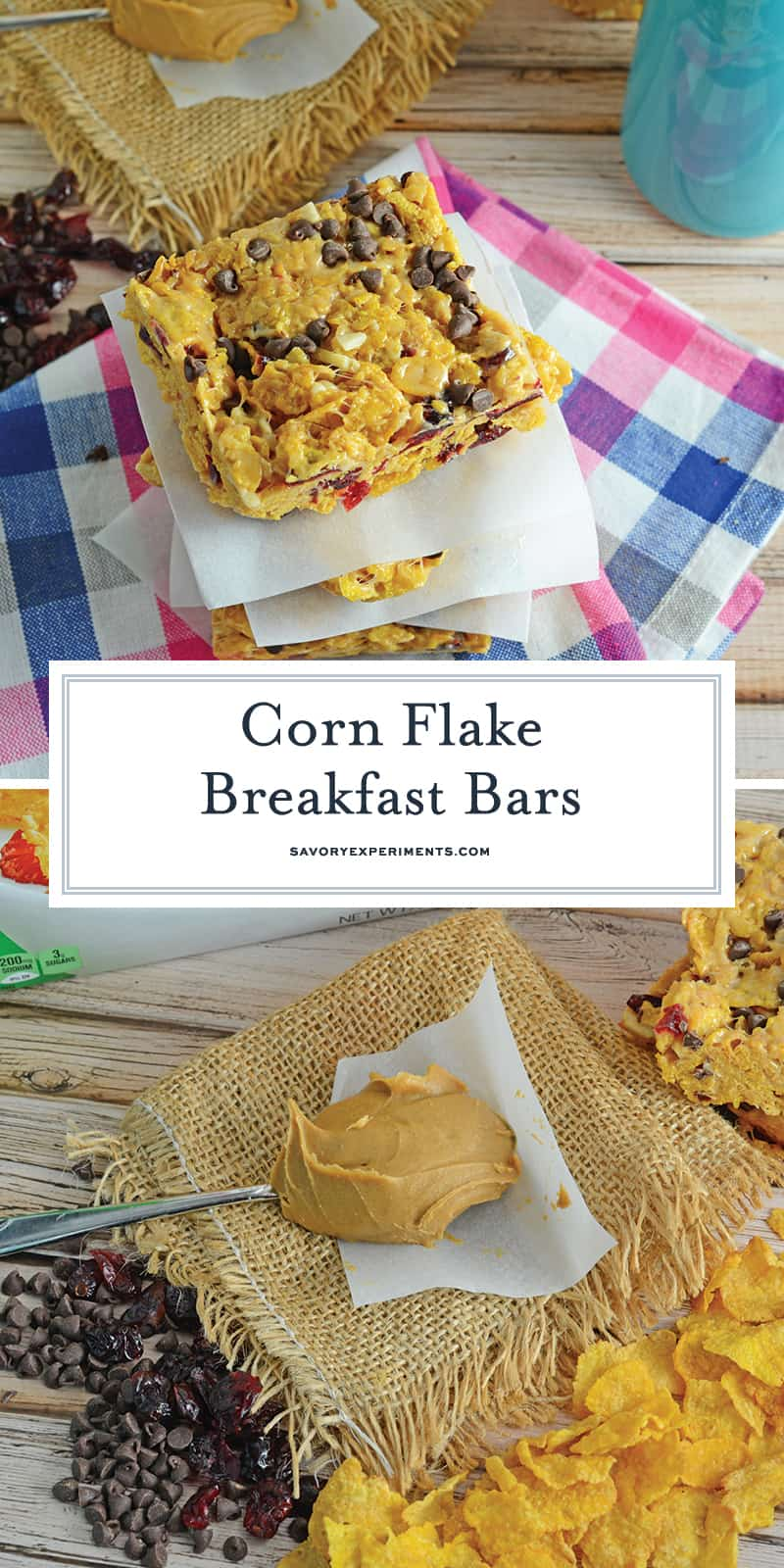 Corn Flake Breakfast Bars are a 15-minute handheld breakfast bar made from corn flakes, dried cranberries, slivered almonds, peanut butter, mini chocolate chips and marshmallows. #breakfastbars #makeaheadbreakfast www.savoryexperiments.com