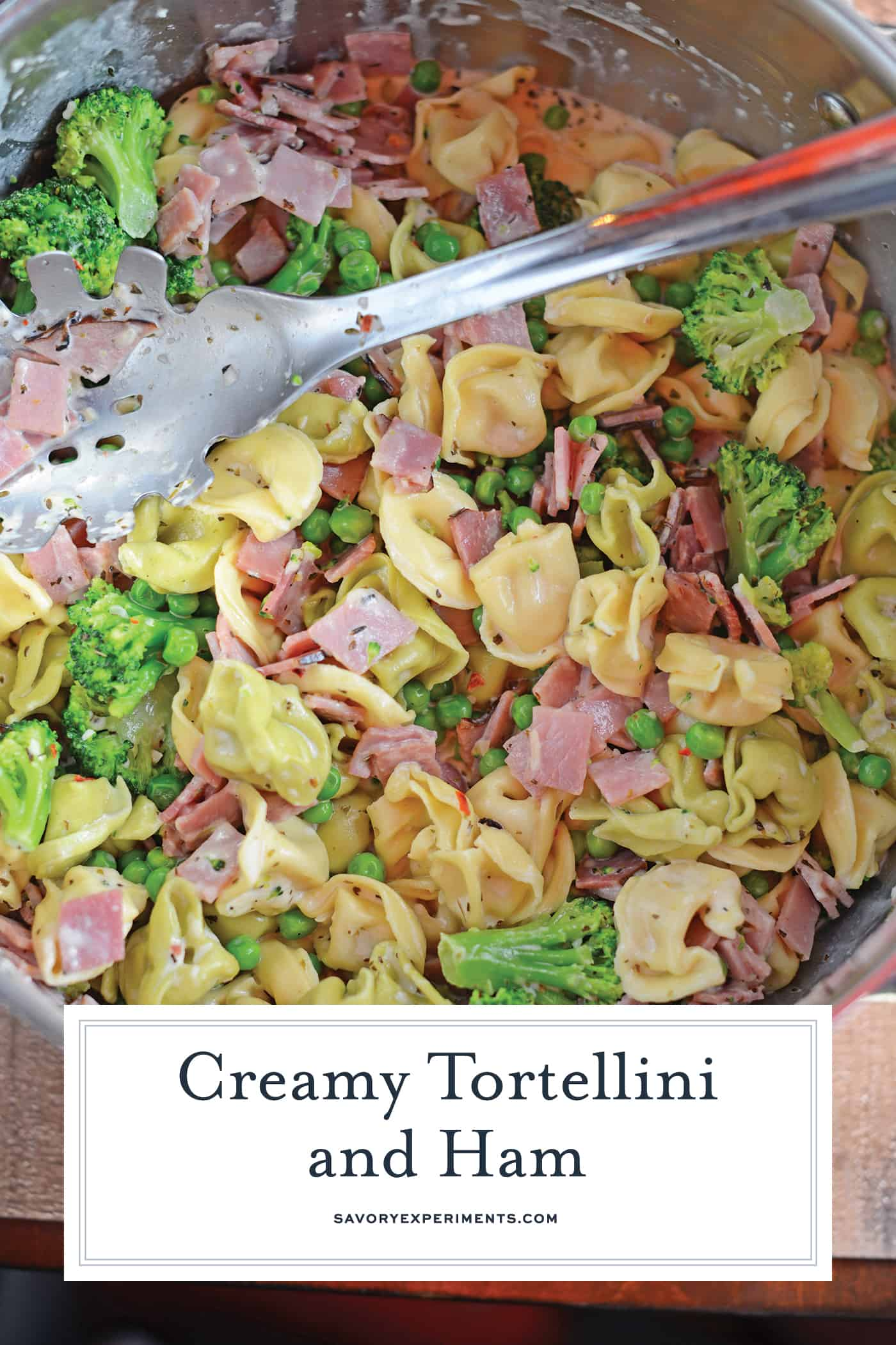 Overhead of ham and cheese tortellini recipe