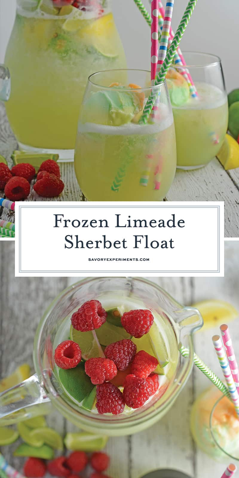 Frozen Limeade Sherbet Floats- a refreshing summer drink perfect for parties and BBQs! Cool limeade blended with ice and topped with a heaping scoop of rainbow sherbet! Perfect for kids, but an adult option available. #sherbetfloats #limeade www.savoryexperiments.com