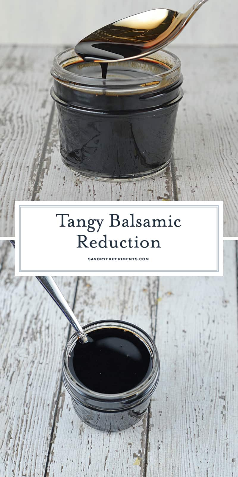 Easy Balsamic Reduction Sauce takes any meal from boring to sophisticated! Two ingredients and it is ready in just minutes! #balsamicreductionsauce www.savoryexperiments.com
