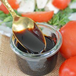 Spoon with balsamic vinegar glaze