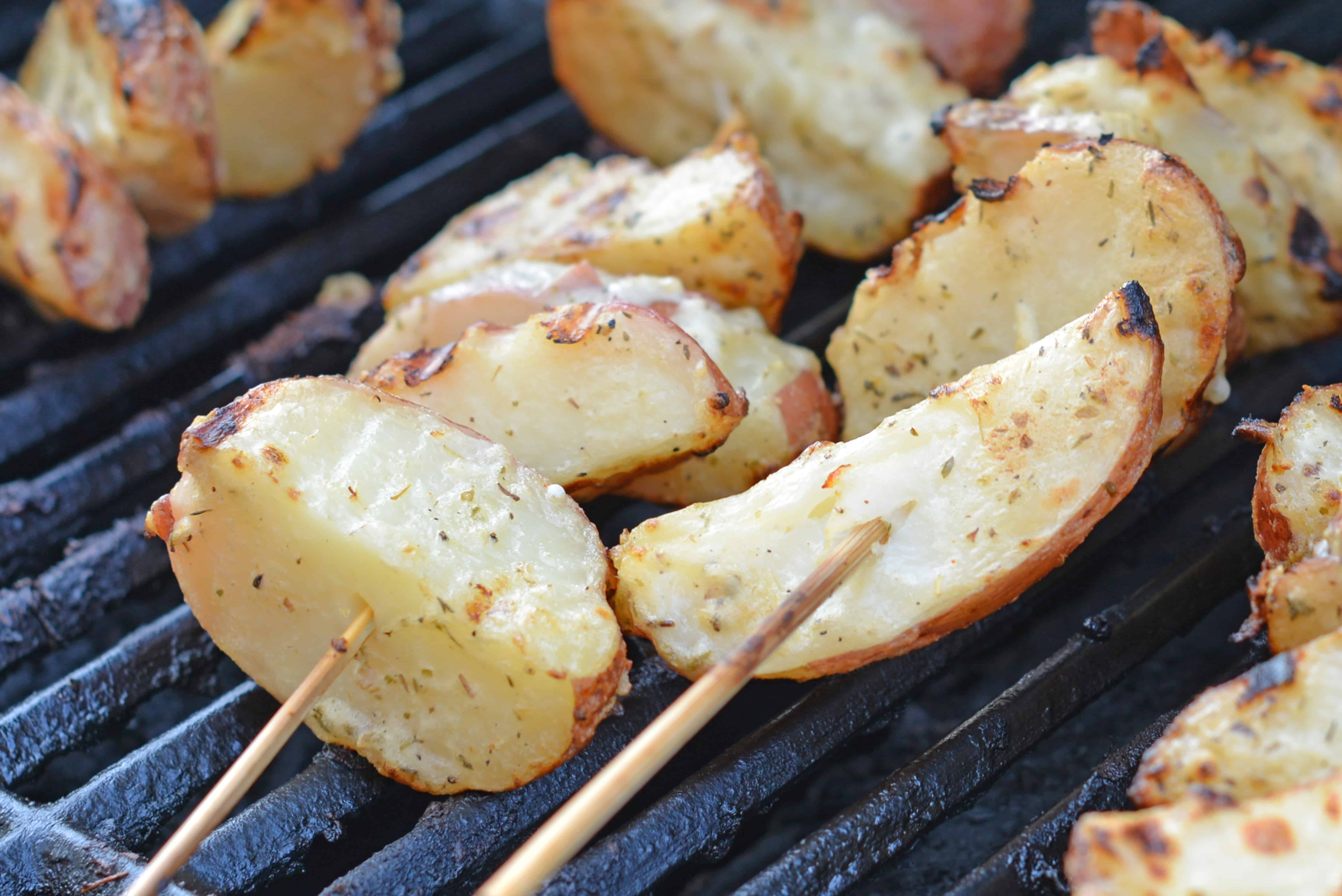Potatoes on the grill uses miracle whip (I called them Miracle Whip Potatoes growing up) and keeps those spuds nice and moist with loads of tangy flavor.