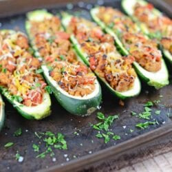 Grilled Turkey Zucchini Boats Recipe - Looking for grilling recipes? Turkey stuffed zucchini makes the perfect healthy dinner! One of the best zucchini recipes I've ever made.