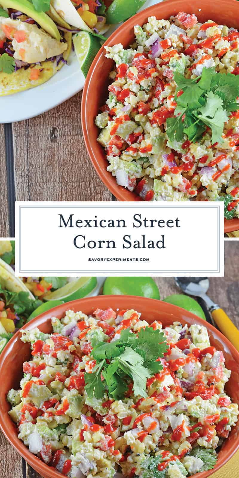 Traditional Mexican street corn is turned into the best Mexican Street Corn Salad ever! Lime, Mexican cheese with avocado, red onions and crema mexicana. #mexicanstreetcornsalad #cornsalad www.savoryexperiments.com