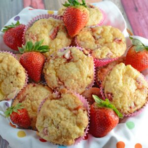Strawberry Cream Cheese Muffins-- like eating strawberries 'n cream cupcakes for breakfast!! Strawberry shortcake, in a muffin, super moist and creamy using fresh or frozen strawberries. www.savoryexperiments.com