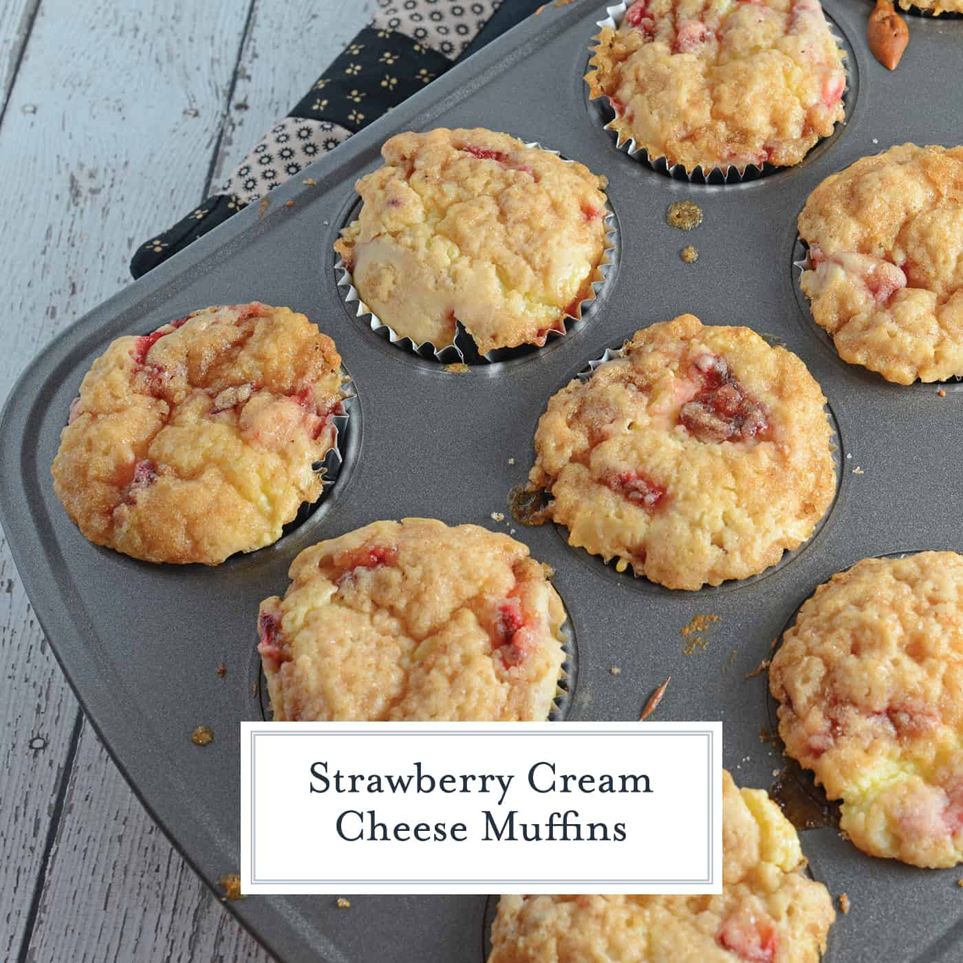 Strawberry Cream Cheese Muffins are soft muffins using fresh strawberries, rich cream cheese and a brown sugar streusel topping. #homemademuffins #strawberrycreamcheesemuffins #strawberrymuffins www.savoryexperiments.com