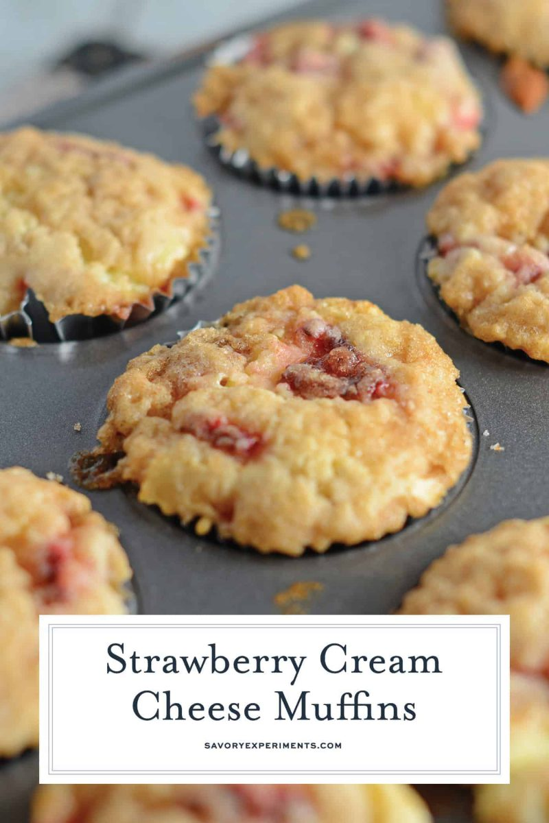 Close up of strawberry cream cheese muffins for pinterest