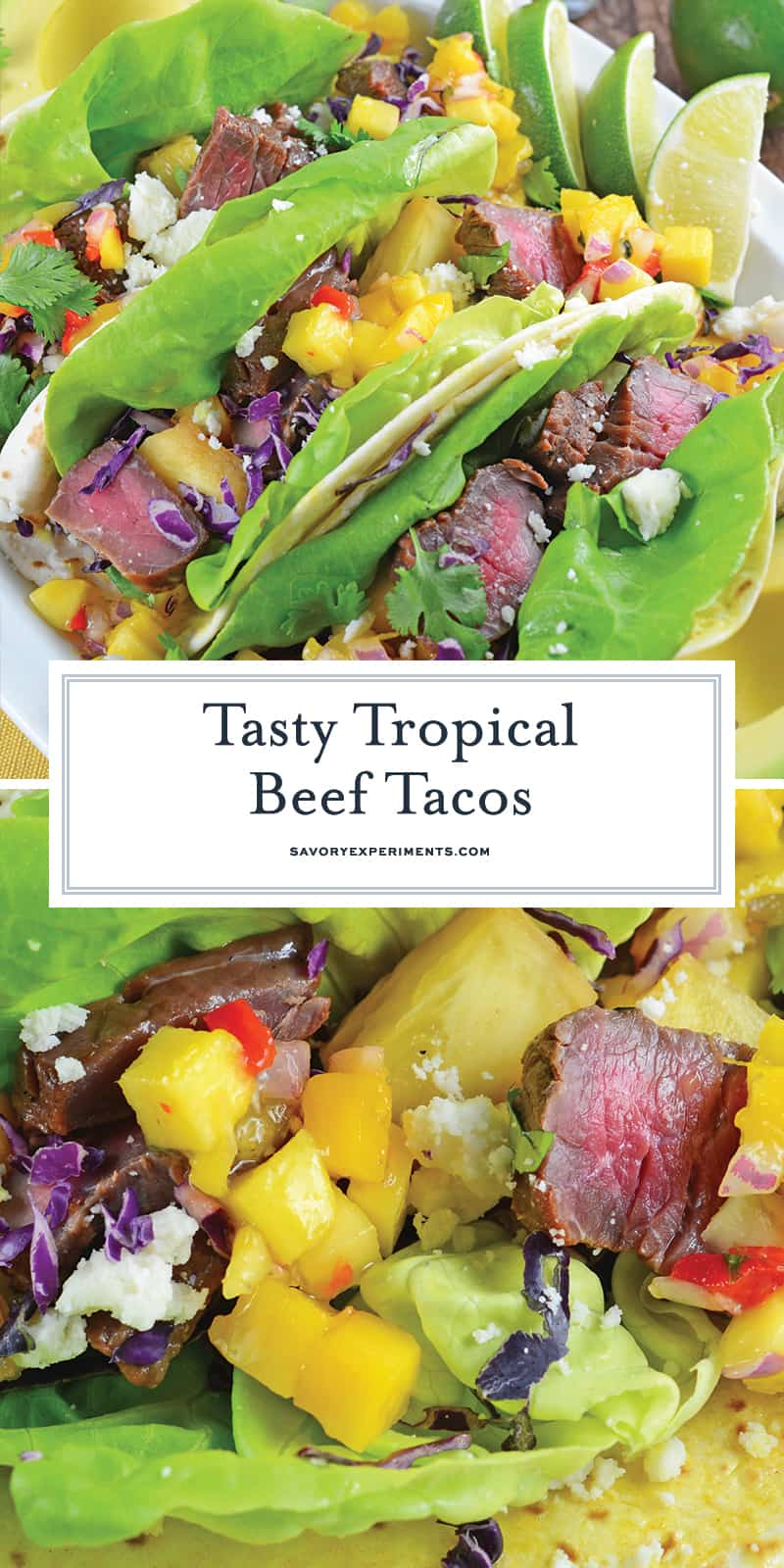 Tropical Beef Tacos use seasoned strip steak with mango salsa and queso fresco. Plus one secret for out-of-this-world tacos! #softtacos #beeftacos #streettacos www.savoryexperiments.com