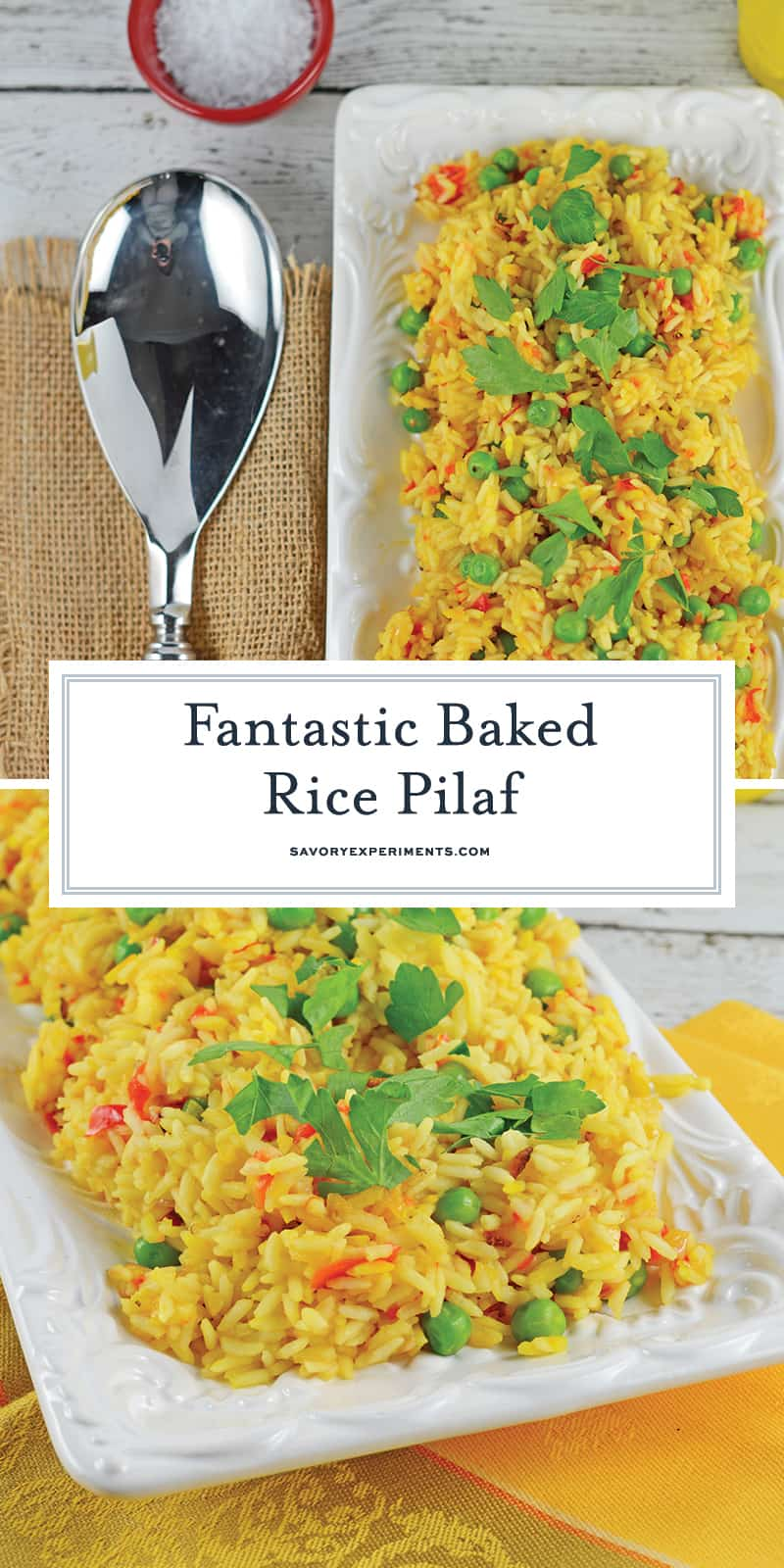 You'll never buy boxed rice pilaf ever again once you've made Bake Rice Pilaf! This is a fool proof way of getting the perfect rice every time… in the oven! #ricepilafrecipe #bakedricepilaf www.savoryexperiments.com