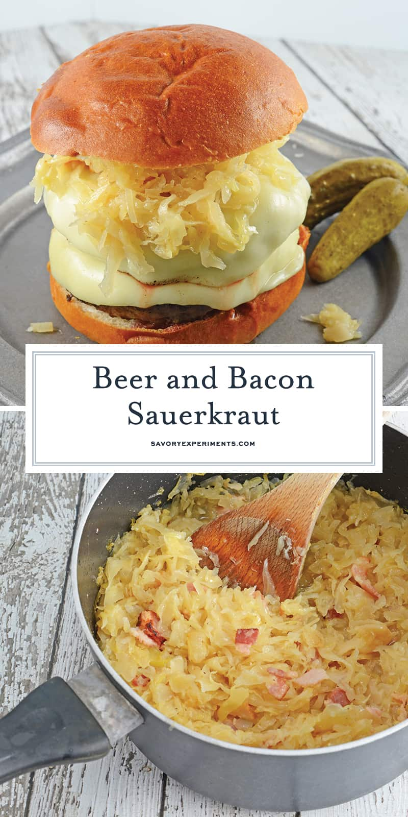 Beer and Bacon Sauerkraut is made from drained sauerkraut reconstituted with the flavors of beer and bacon. Top on hamburgers or hot dogs. #homemadesauerkraut #sauerkrautrecipe www.savoryexperiments.com