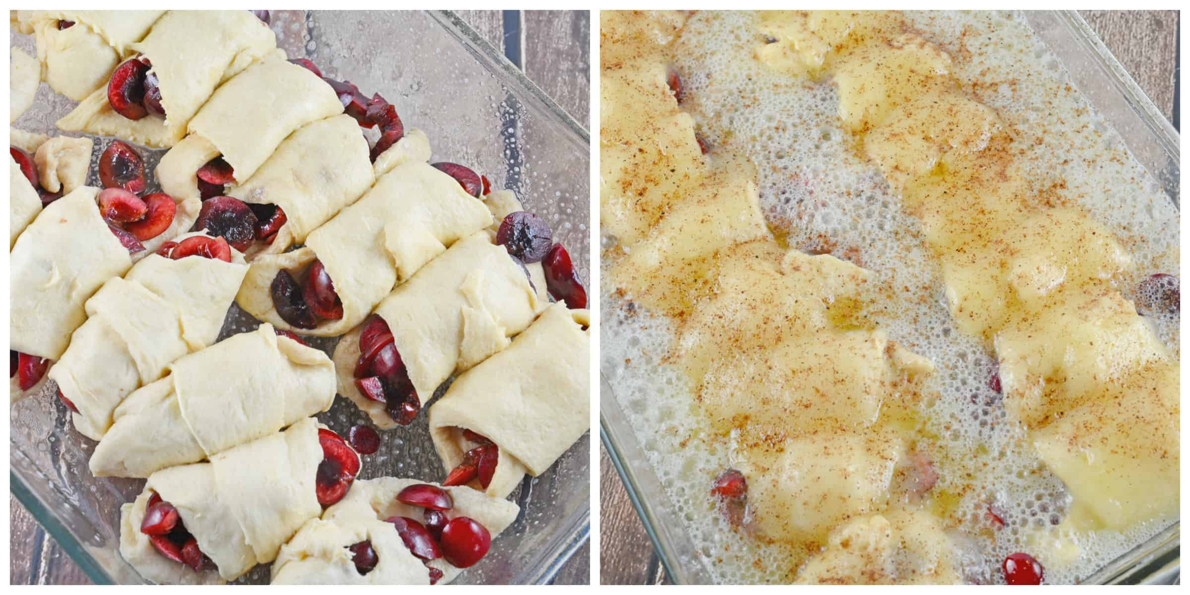 Cherry Dumpling Casserole- a quick and easy dessert made with a handful of ingredients. www.savoryexperiments.com
