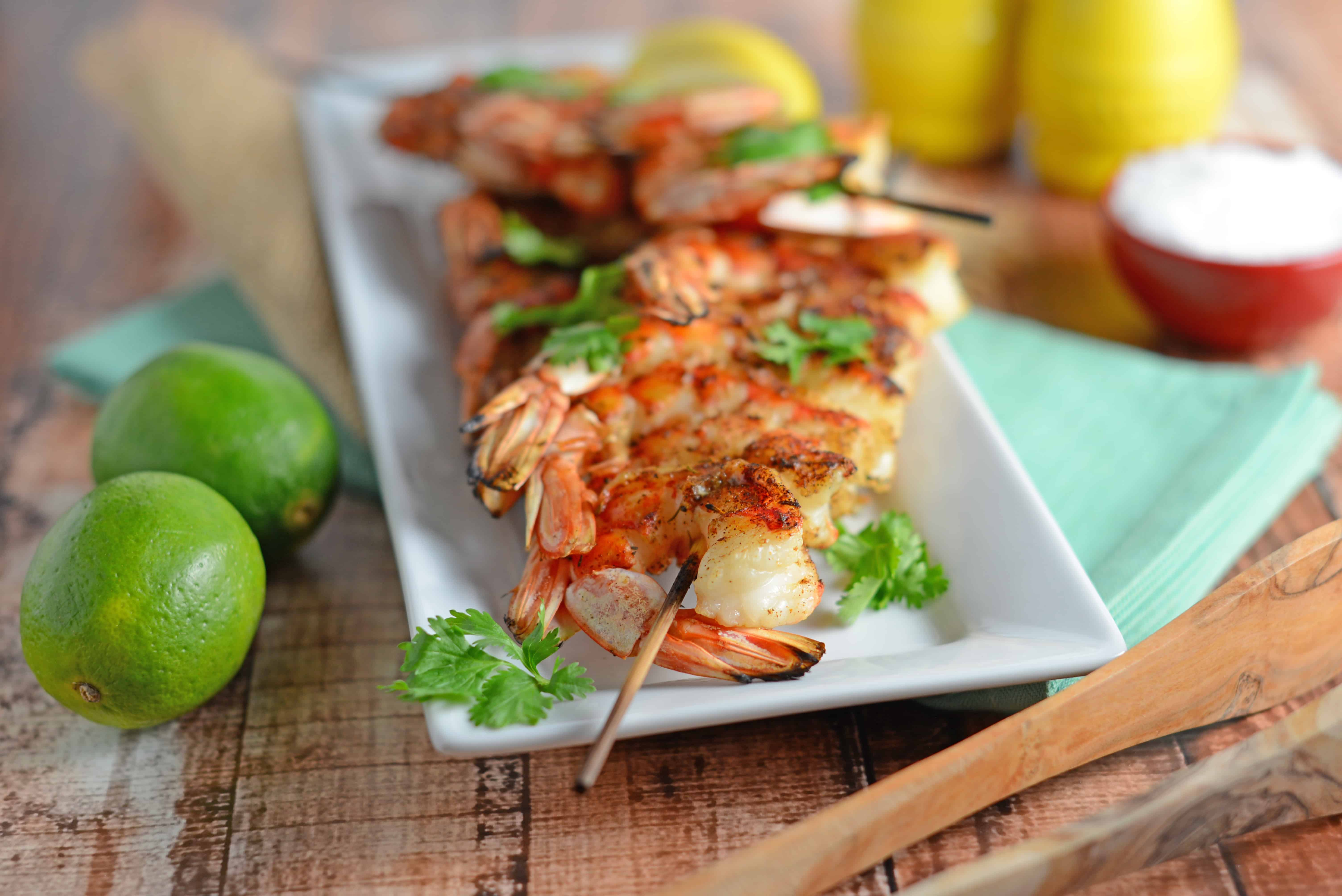 Thai Grilled Shrimp- Healthy meal idea, easy dinner recipe with only 4 ingredients!
