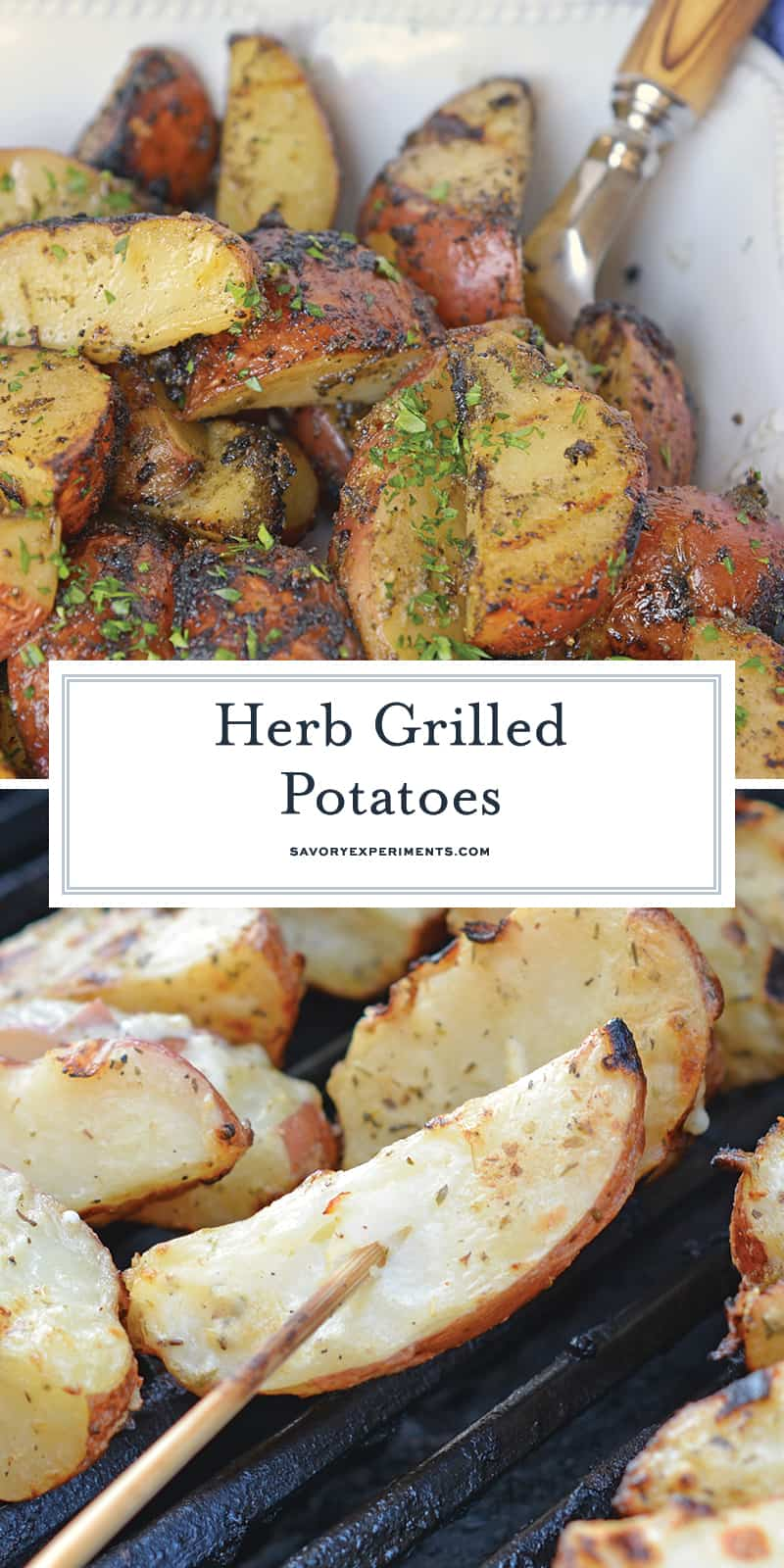 Herb Grilled Potatoes uses miracle whip and a handful of spices to keep those spuds nice and moist with loads of flavor! Make this easy side dish today! #grilledpotatoes #grilledpotatowedges www.savoryexperiments.com