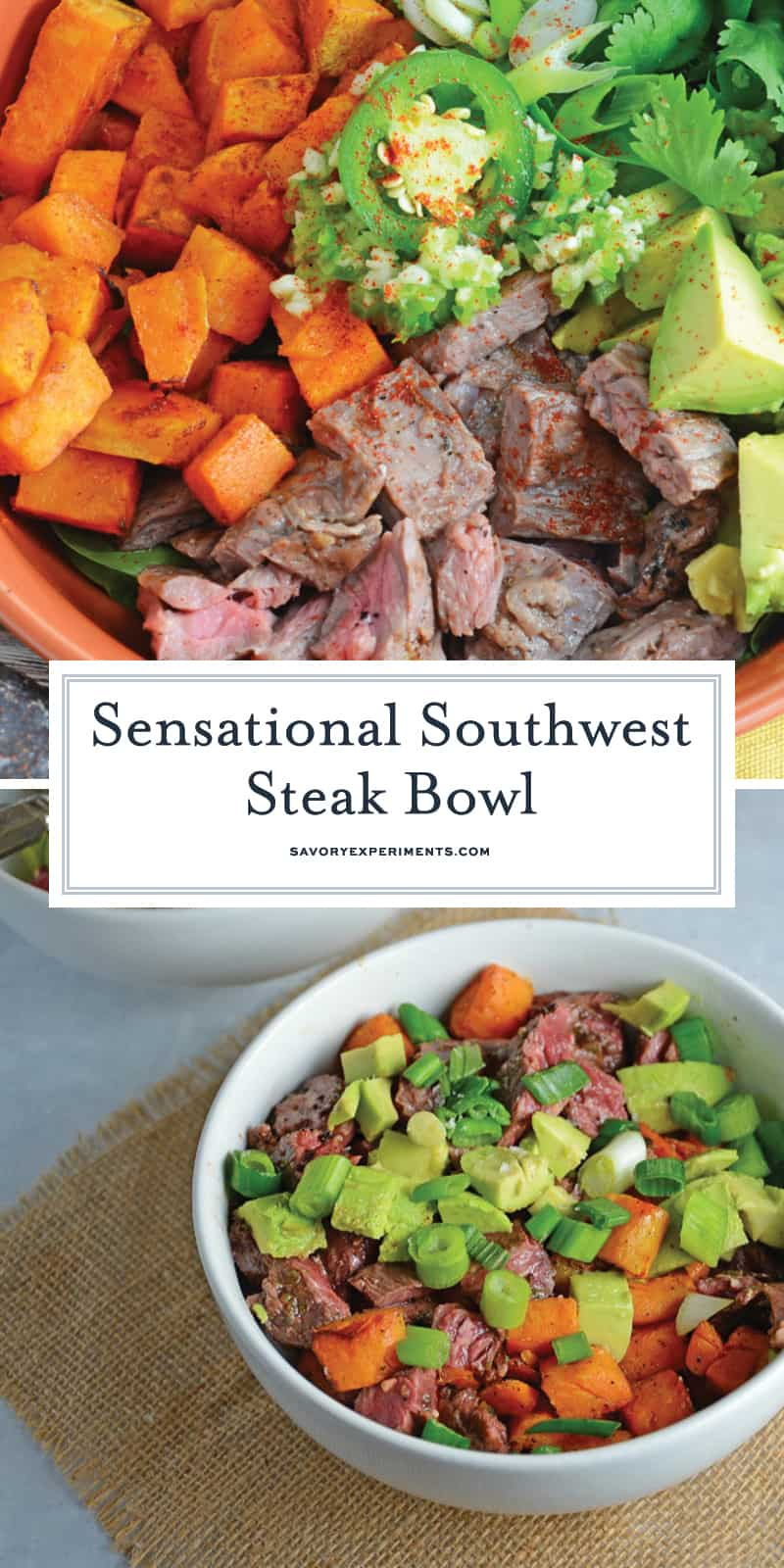 "A Beef Bowl using seasoned flank steak, spinach, baked sweet potatoes, cilantro, jalapeno, garlic and avocado, making it gluten-free and ""whole"". #beefbowl www.savoryexperiments.com"