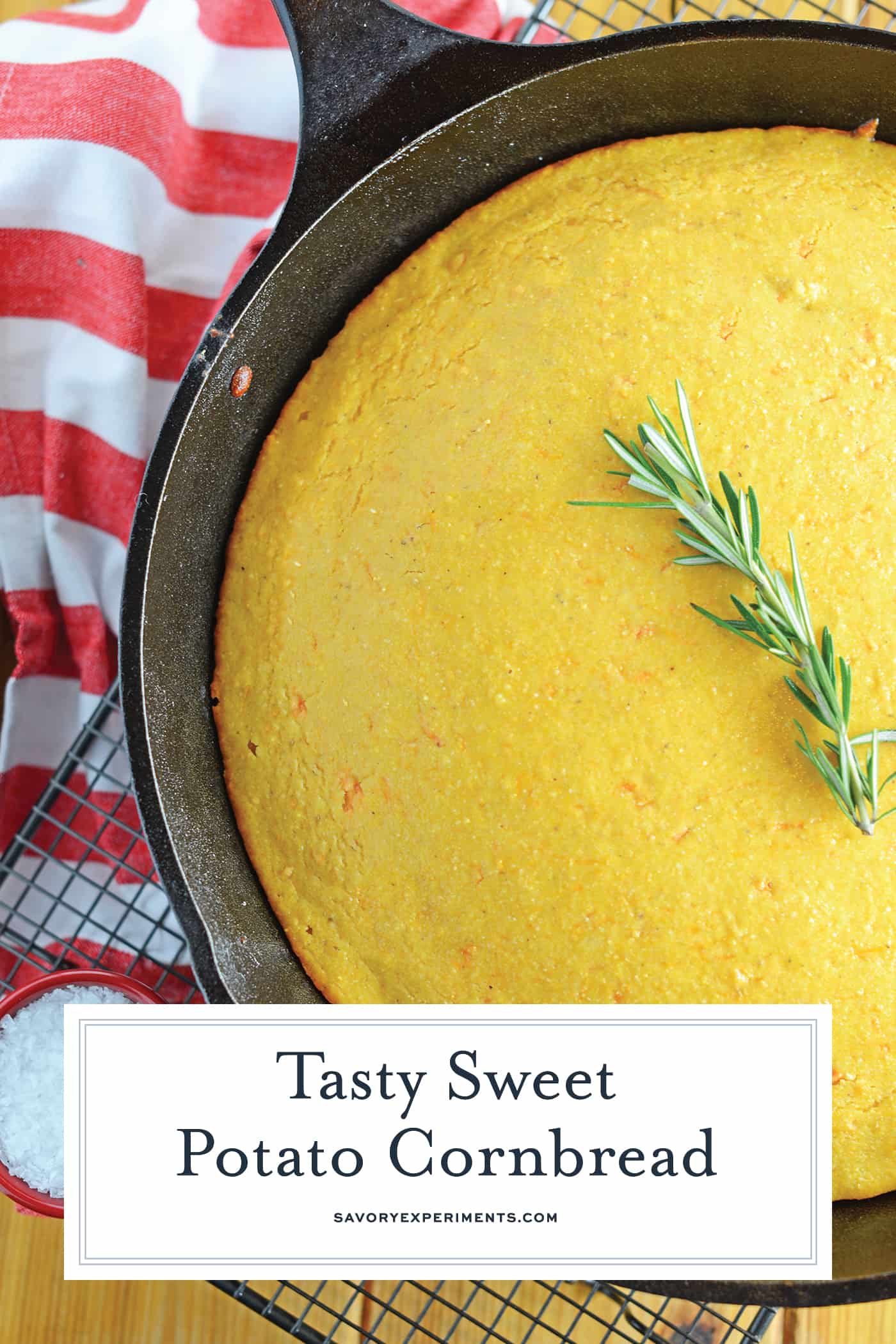 Sweet Potato Cornbread is a combination of two of my favorite fall foods: sweet potatoes and cornbread. Serve with your favorite chili or fried chicken! #sweetpotatocornbread #sweetcornbread www.savoryexperiments.com