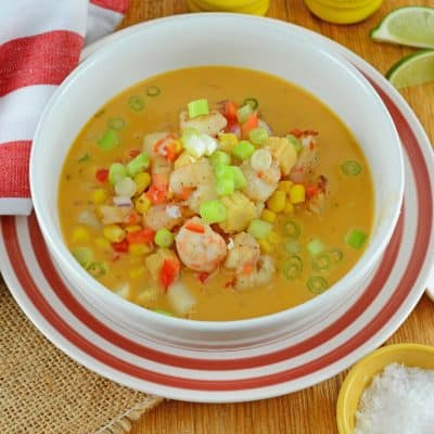 Thai Coconut Soup is an easy and healthy appetizer or entree using scallops, shrimp, vegetables and a red curry coconut broth. #thaicoconutsoup #thaiseafoodsoup www.savoryexperiments.com