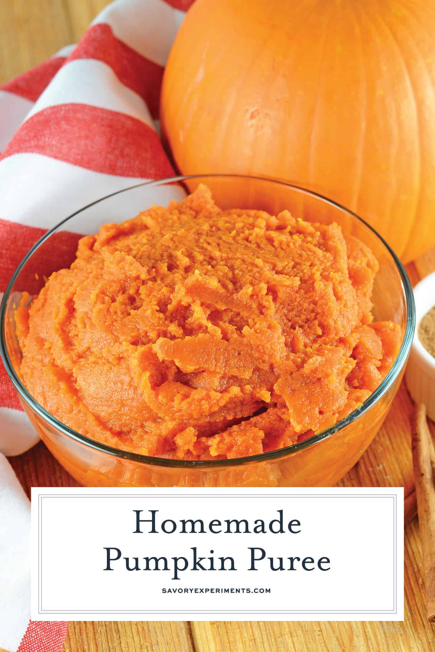Make some Homemade Pumpkin Puree using one ingredient: pumpkin! Learn about the pie pumpkin and find pumpkin recipes to use your pumpkin puree in! #pumpkinpureerecipes #howtomakepumpkinpuree www.savoryexperiments.com