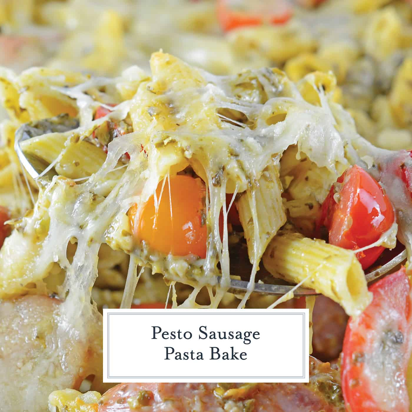 Pesto Sausage Pasta Bake is the perfect easy pasta dish! Creamy pesto sauce, pasta, smoked sausage and Italian cheese make this the ideal meal! #pastabake #bakedpastadishes #sausagepastabake www.savoryexperiments.com