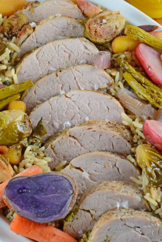 sliced herb garlic pork tenderloin