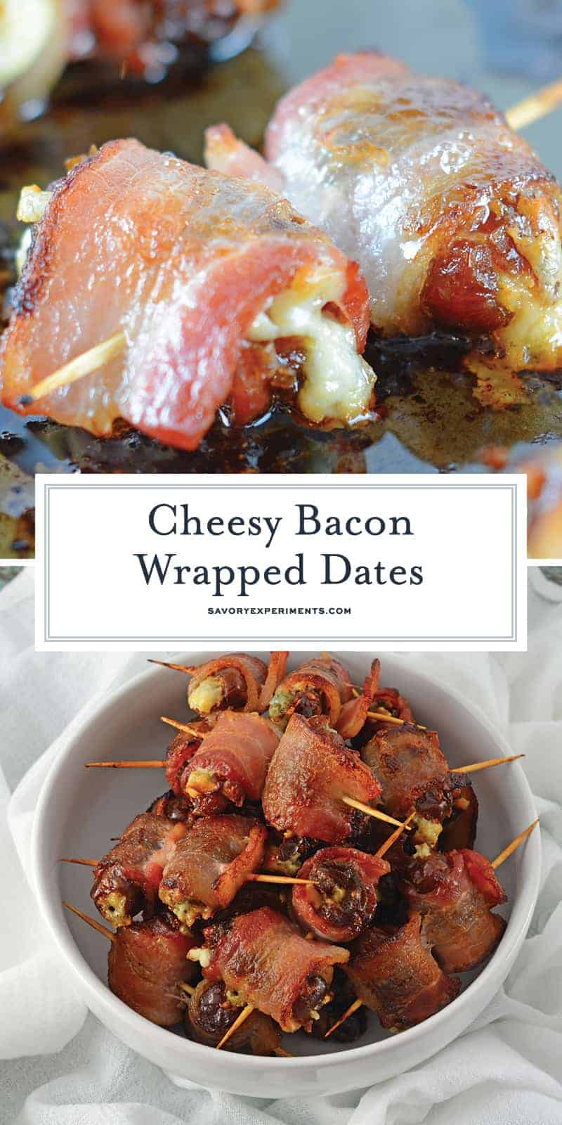 Bacon Wrapped Dates are an easy, 4 ingredient appetizer or snack perfect for watching the big game in your pajamas or a fancy cocktail party. #dateappetizers #baconwrappeddates www.savoryexperiments.com