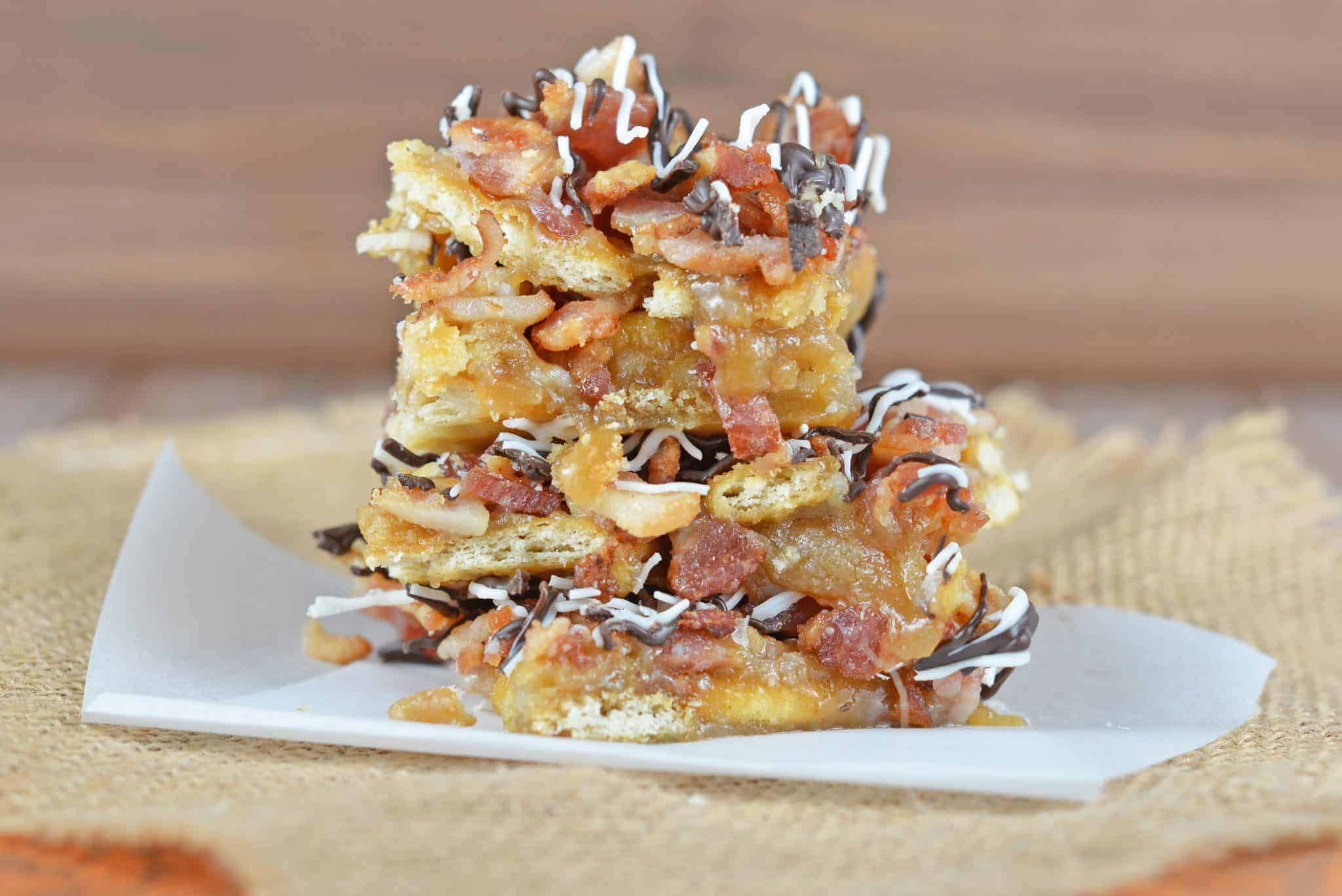Chocolate Bacon Saltine Toffee is additively delicious, easy to make and the perfect addition to any holiday cookie tray!