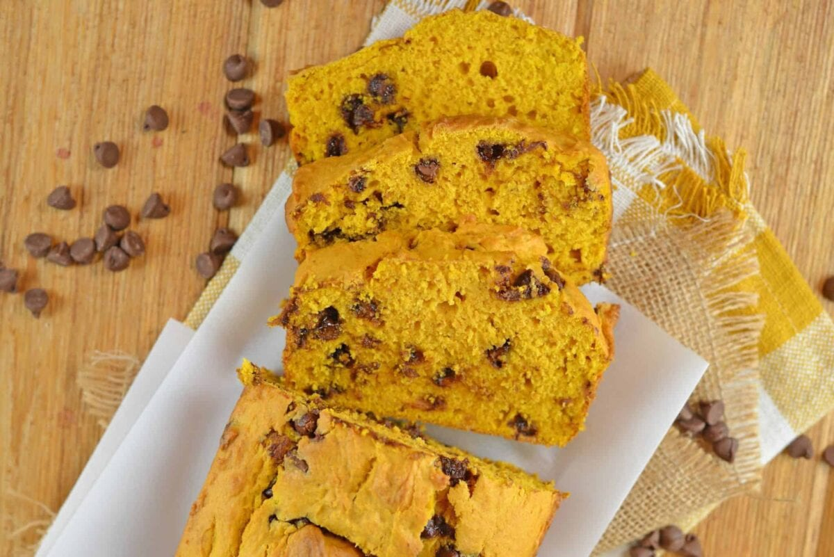 Chocolate Chip Pumpkin Bread sliced on parchment paper