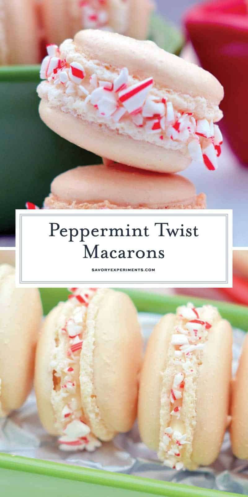 Peppermint Twist Macarons are an easy macaron recipe with a buttercream filling. Perfect recette macarons for Christmas cookies and holiday parties. #easymacaronrecipe #christmascookies www.savoryexperiments.com