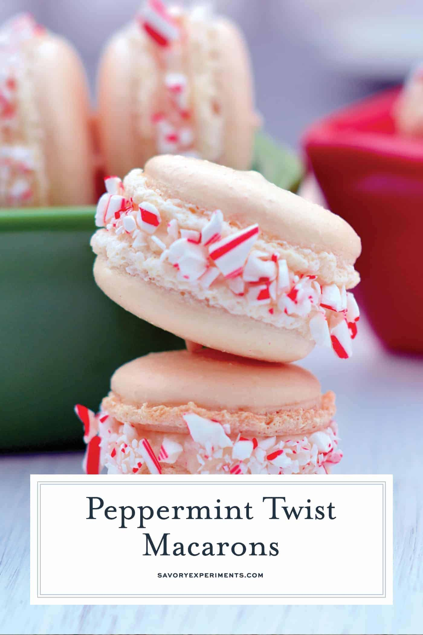 Peppermint Twist Macarons are an easy macaron recipe with a buttercream filling. Perfect recette macarons for Christmas cookies and holiday parties.#easymacaronrecipe #christmascookies www.savoryexperiments.com