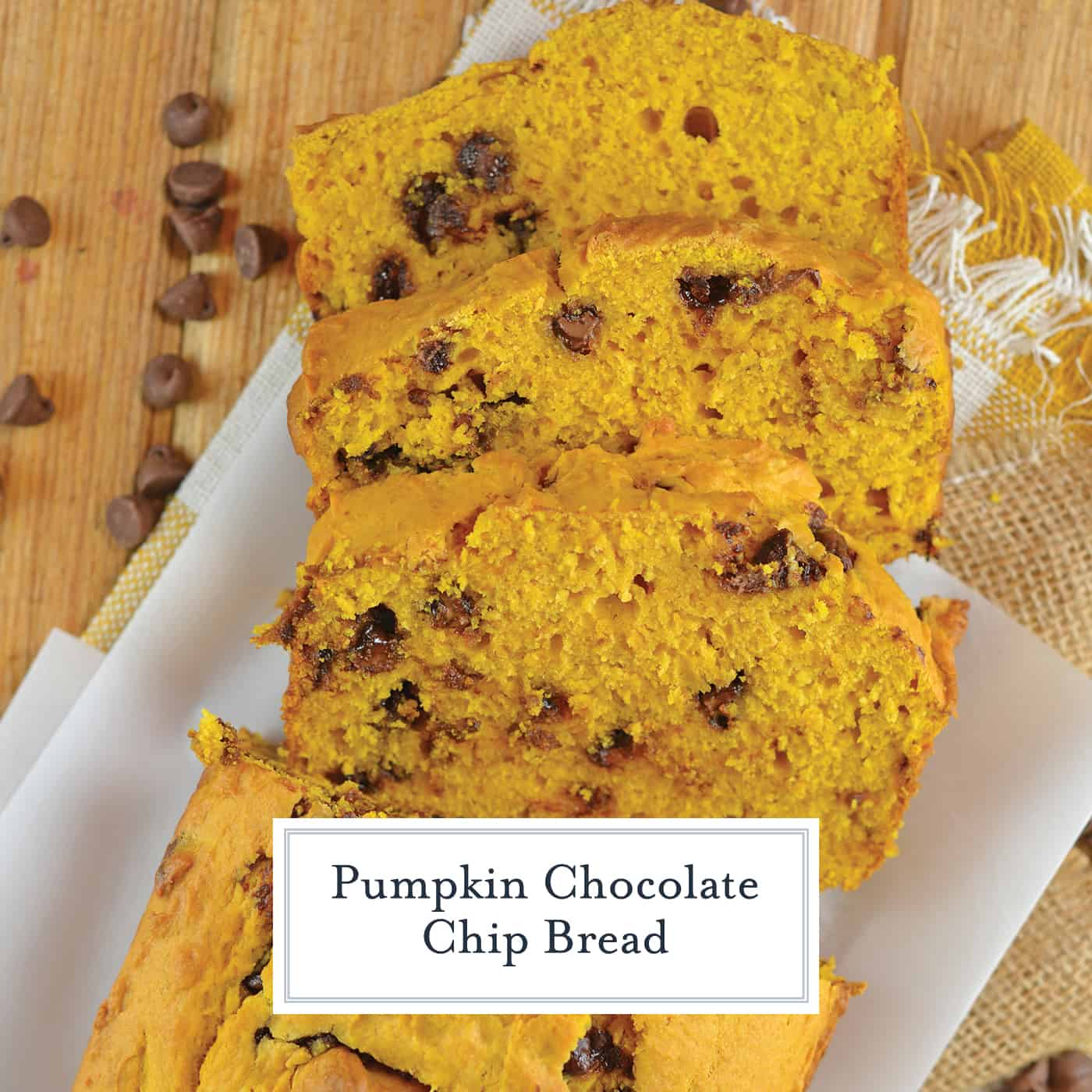 Chocolate Chip Pumpkin Bread is easy to make, soft and flavorful. A perfect loaf for breakfast or dessert on a holiday or any other day! #pumpkinchocolatechipbread #pumpkinbreadwithchocolatechips www.savoryexperiments.com