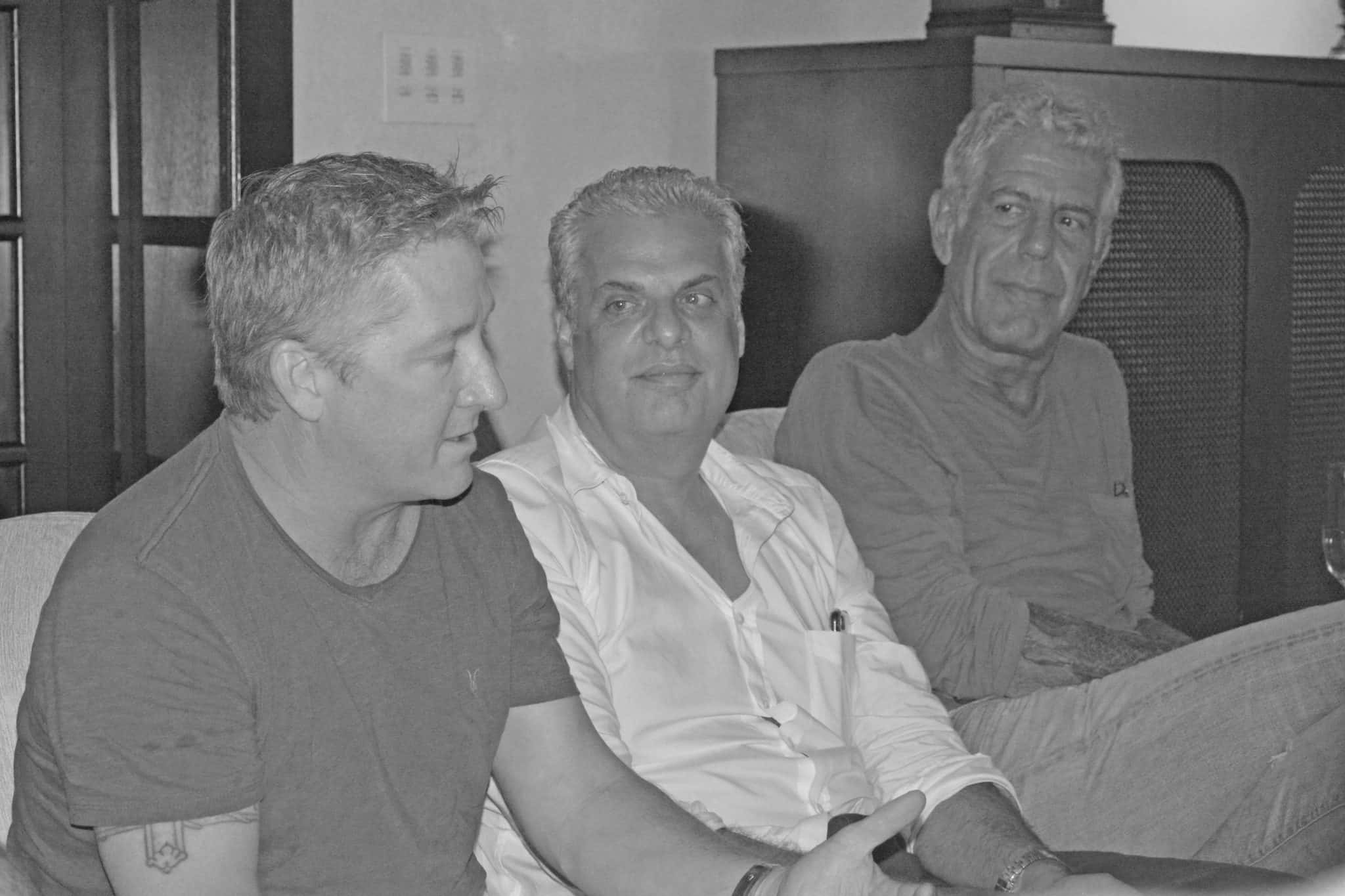 Chefs Anthony Bourdain, Eric Ripert and Tim Love