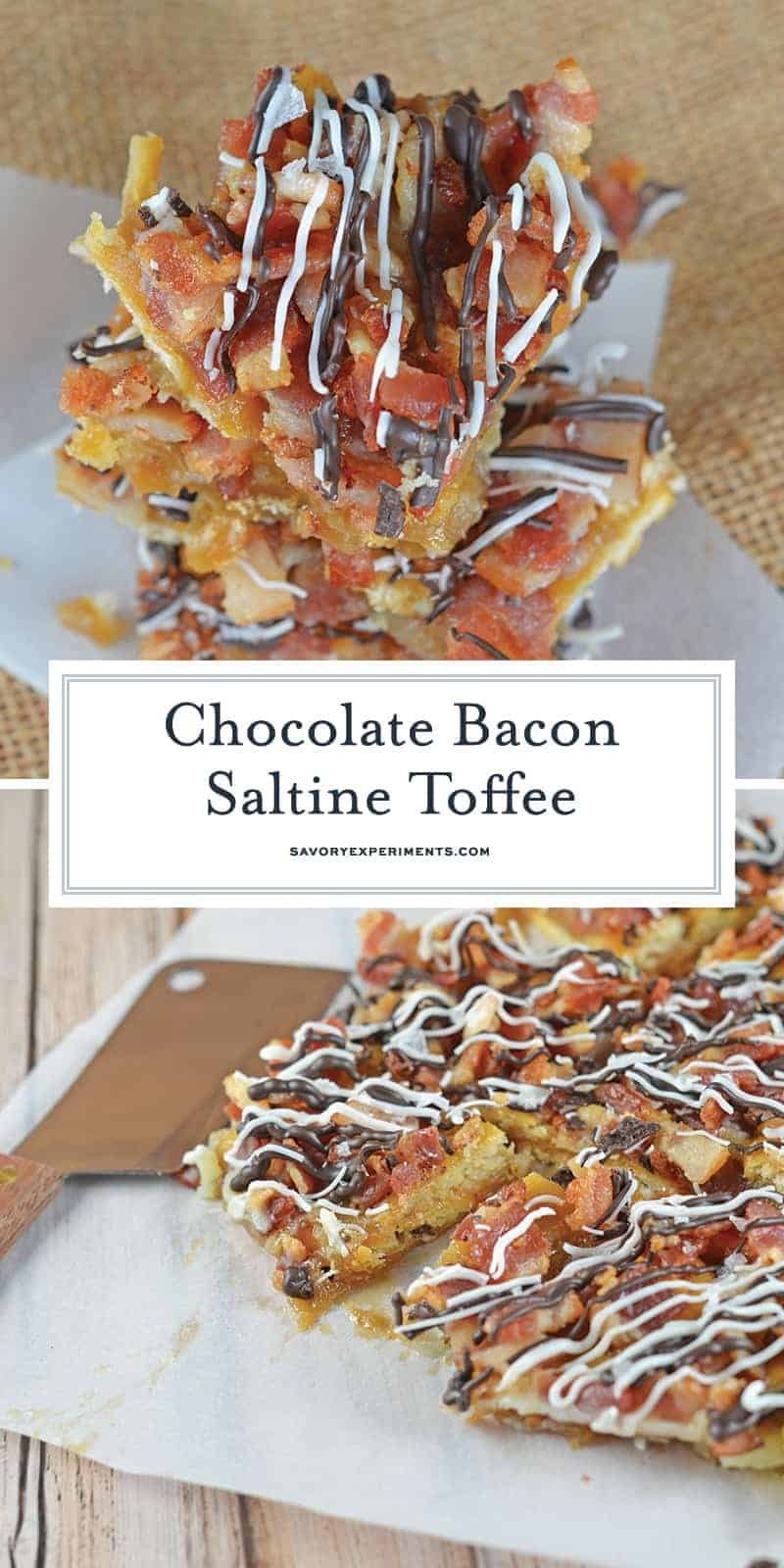 Chocolate Bacon Saltine Toffee is made up of crackers, bacon, and chocolate! So delicious, easy to make and the perfect addition to any holiday cookie tray! #saltinecrackertoffee #saltinetoffee #christmascrackrecipe www.savoryexperiments.com