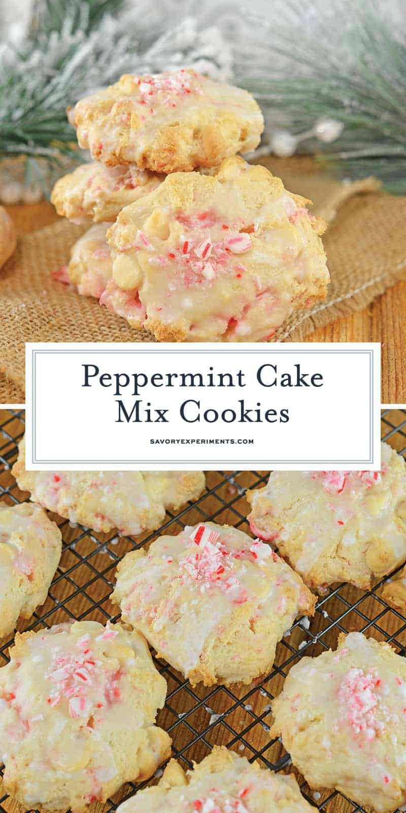 Peppermint Cake Mix Cookies only use 5 ingredients and are super soft and festive! Make these candy cane cookies for your kids party or a cookie exchange! #cakemixcookies #peppermintcookies #candycanecookies www.savoryexperiments.com