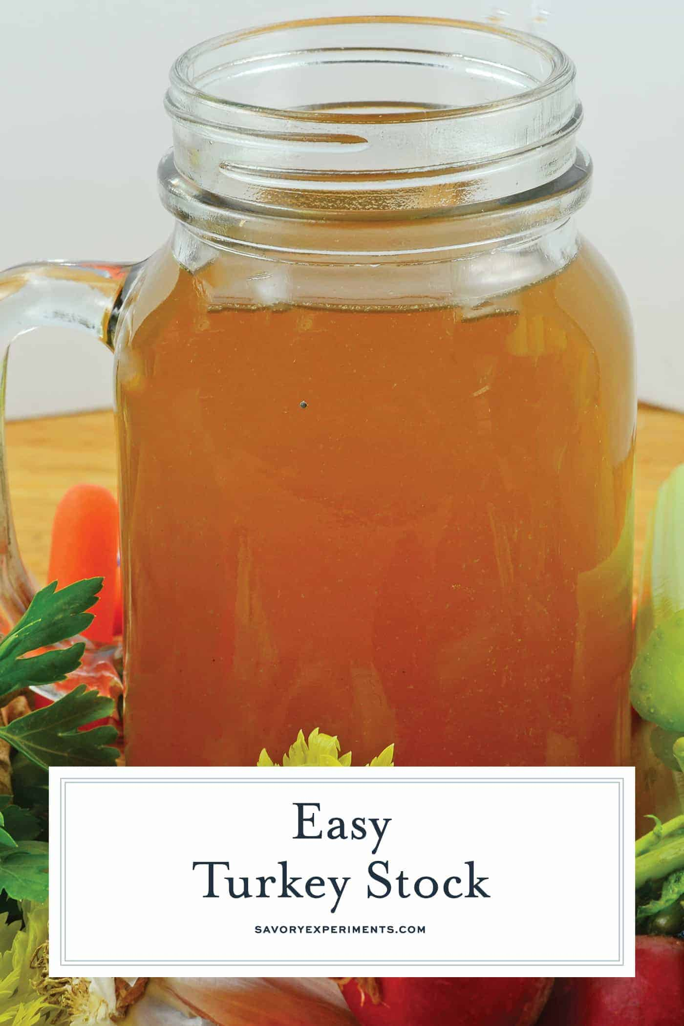 Turkey Stock is the base to a great gravy, sauce and stuffing. Make your own for robust flavor and maximum health benefits. #howtomaketurkeystock #turkeystockrecipe www.savoryexperiments.com