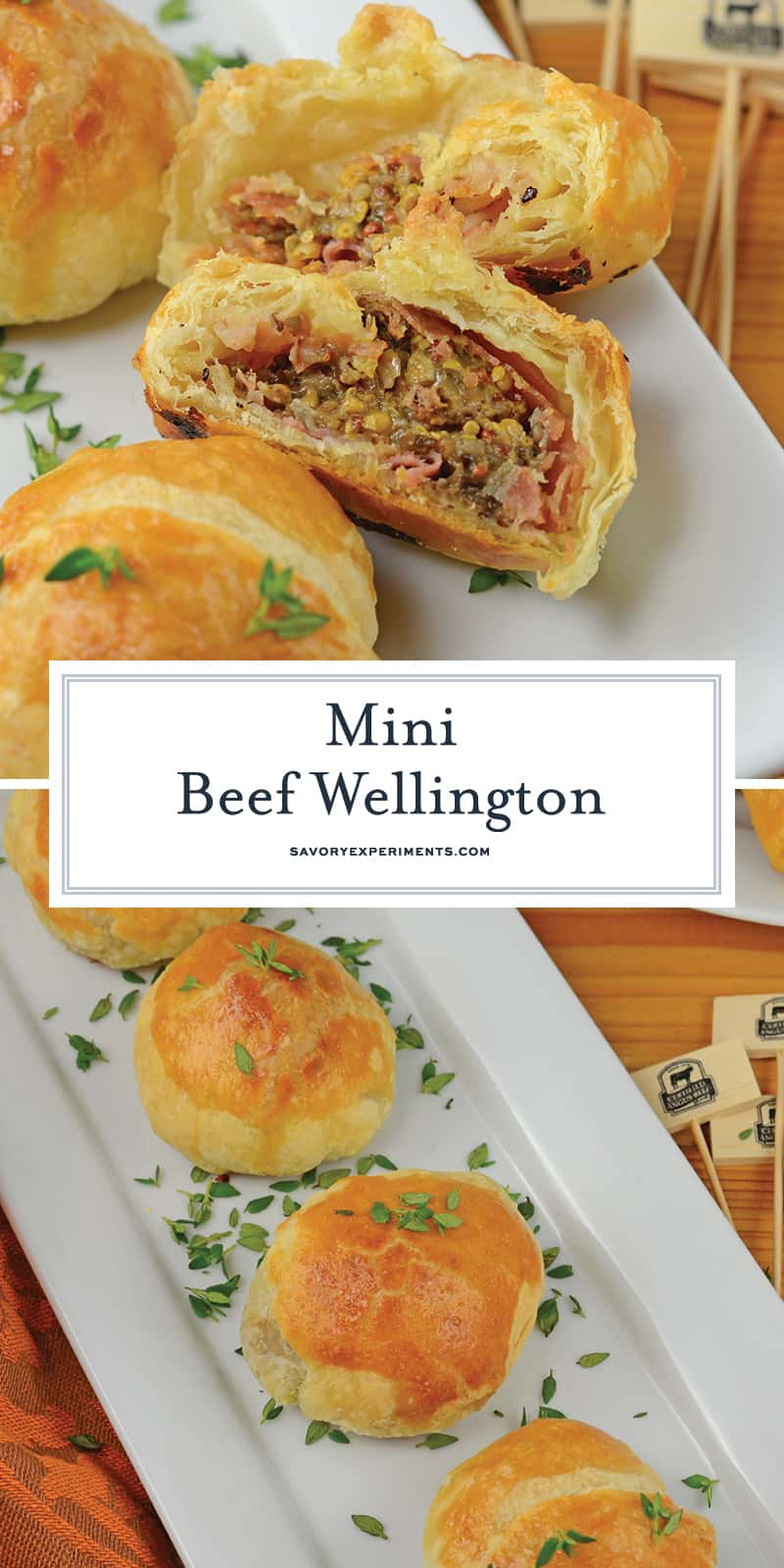 Mini Beef Wellington is one of the best party appetizers out there! Made up of mini pieces of beef tenderloin and seasonings inside flakey puff pastry! #minibeefwellington #individualbeefwellington #beefwellingtonrecipe www.savoryexperiments.com