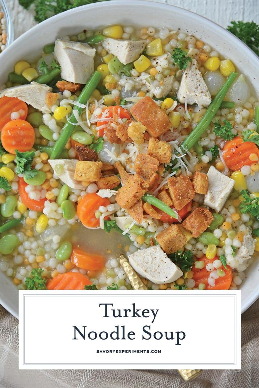 close up of turkey noodle soup for pinterest