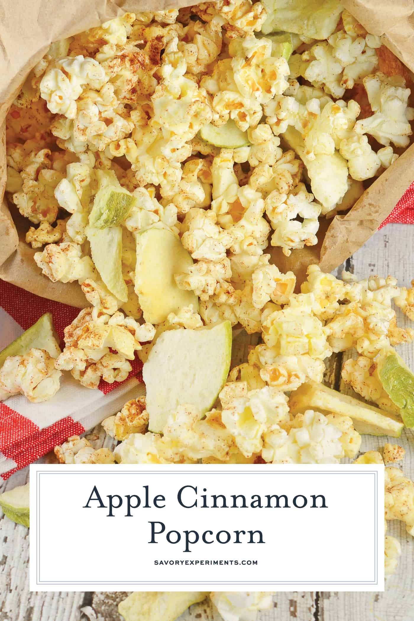 Apple Cinnamon Popcorn is a great way to enjoy popcorn as a dessert or snack. Tossed with apple chips, honey, cinnamon and vanilla, you will crave this popcorn seasoning every day! #gourmetpopcorn #popcornrecipes www.savoryexperiments.com