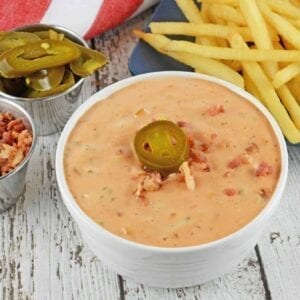 Bacon Jalapeno Fry Sauce is the best spicy dipping sauce for French Fries, hamburgers, hot dogs, onion rings and even deli sandwiches!