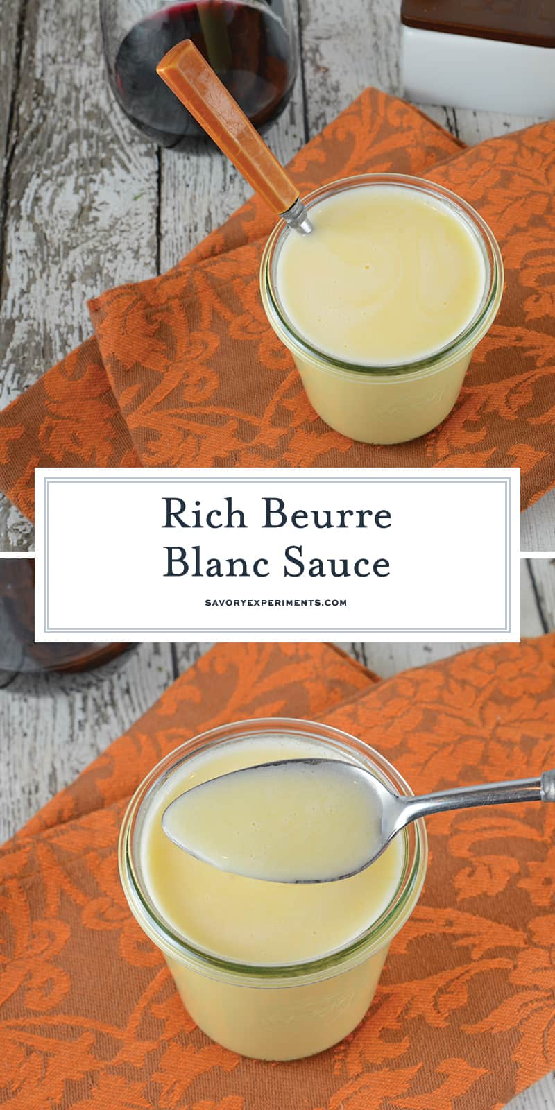"Beurre Blanc is a classic French sauce translated as ""white butter"". Decadent and rich, serve it over meats and pasta dishes. #whitewinebuttersauce #beurreblancsauce www.savoryexperiments.com"