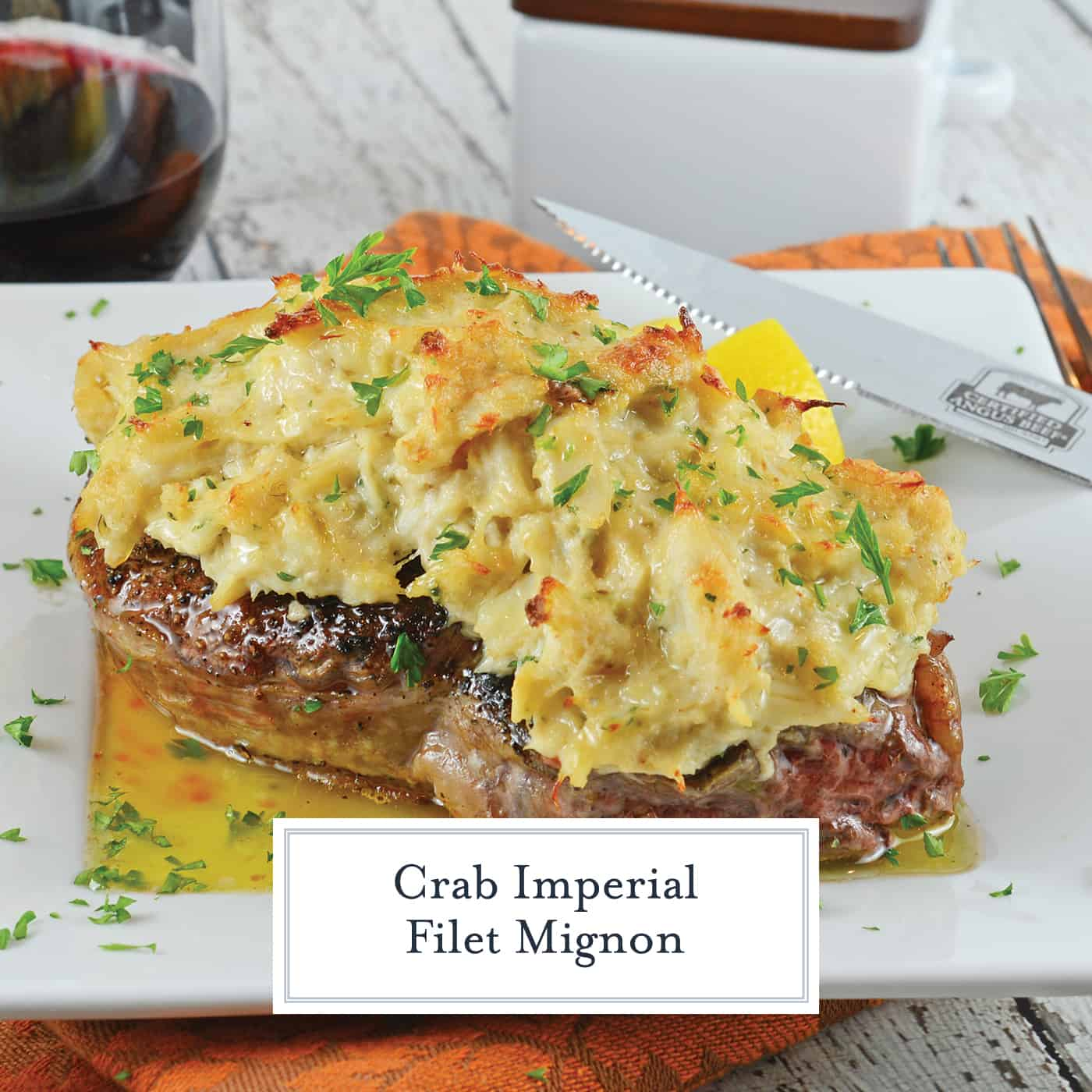 Crab Imperial Filet Mignon is an easy dish perfect for special occasions! Tender beef topped with buttery crab! A luscious crab recipe! #crabtoppingforsteak #crabimperialrecipe #filetmignon www.savoryexperiments.com