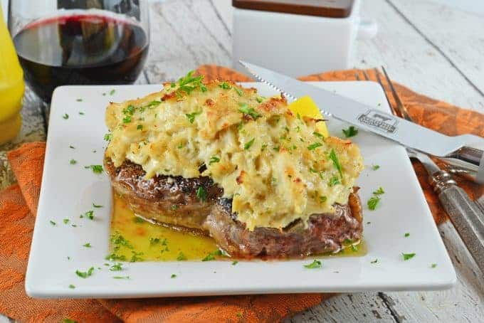 Crab Imperial Filet Mignon is an easy dish perfect for special occassions. Tender beef topped with buttery crab and clarified butter.