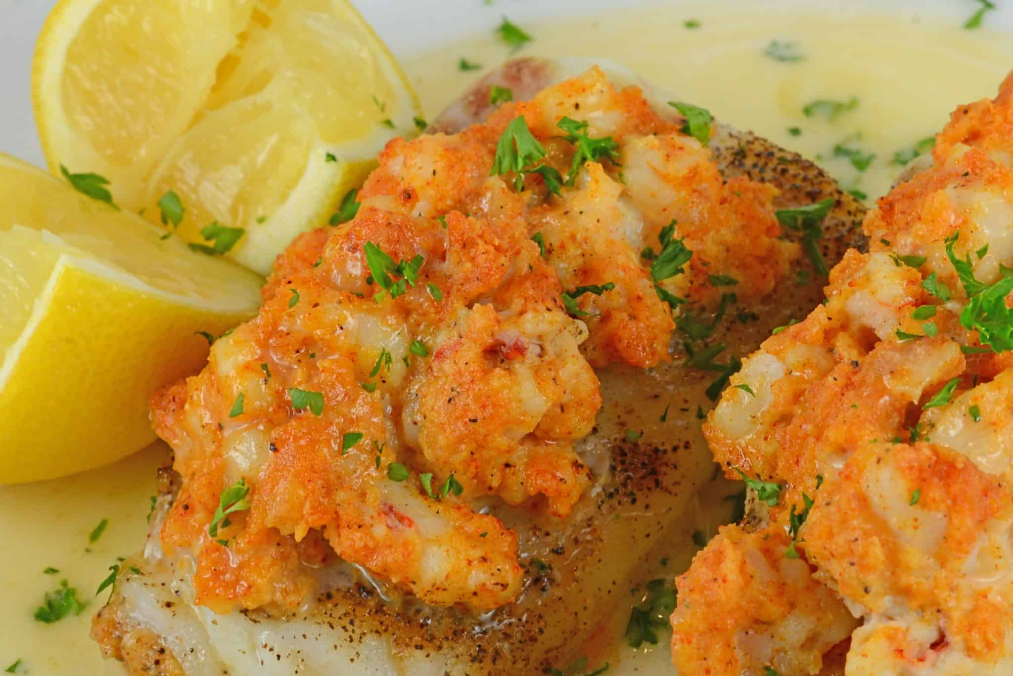 Make Lobster Stuffed Cod for your next special occasion. Buttery cod topped with lump lobster meat and buerre blanc sauce.